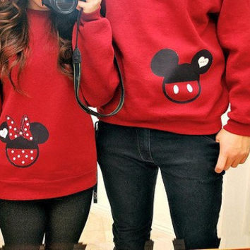 Mickey and Minnie Mouse Couple Sweatshirts on Wanelo