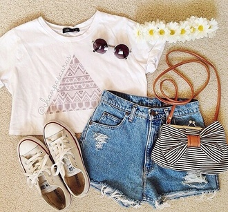 bag stripes bow cute t-shirt hair accessory sunglasses shorts shirt