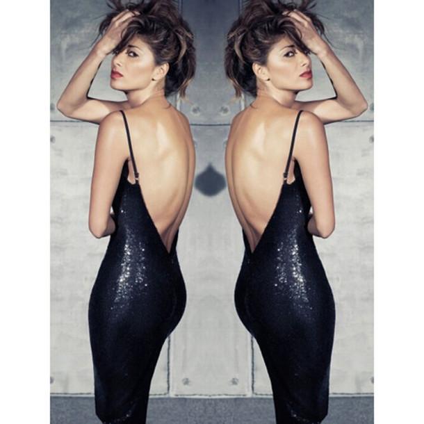 Black sequin low back dress