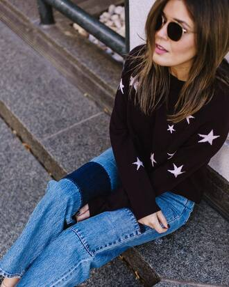 sweater tumblr black sweater stars sunglasses denim jeans blue jeans patchwork