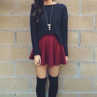 skirt knee high socks red skirt black sweater necklace oversized sweater skater skirt fall outfits fall sweater autumn/winter date outfit