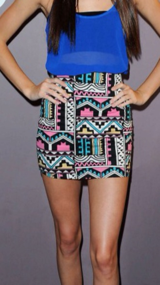 skirt clothes top print colorful blue pink yellow