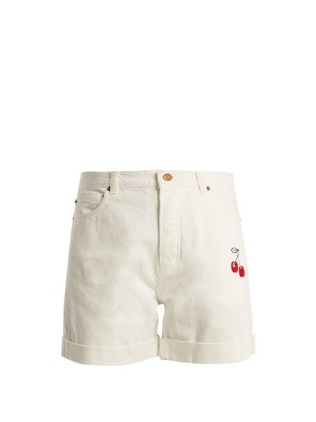 shorts denim shorts denim cherry embroidered high