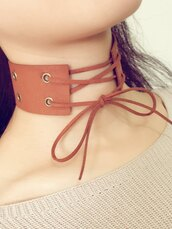 jewels,choker necklace,brown,trendy,fashion,lace up,zaful,necklace,jewelry