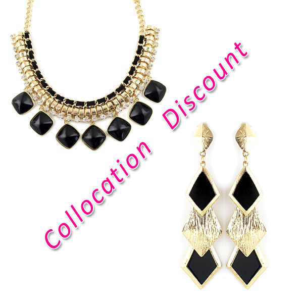 Elegant Big Imitation Rhinestone Gold Color Alloy Jewelry Choker Necklace and Geometric Statement Drop Earrings Jewelry Set-in Jewelry Sets from Jewelry on Aliexpress.com | Alibaba Group