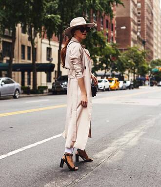 coat tumblr white coat trench coat hat felt hat sandals sandal heels high heel sandals black sandals shoes