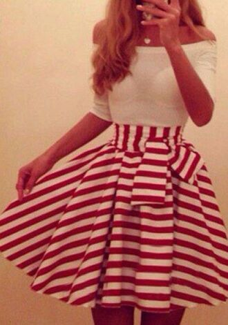 dress red boatneck white stripes cute vintage bow red-white stripes