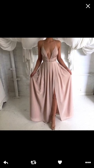 dress nude nude dress low cut dress long dress slit dress