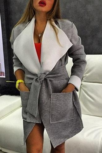 coat grey casual fashion long sleeves large lapel big pocket self-tie belt coat trendy fall outfits jacket warm winter coat