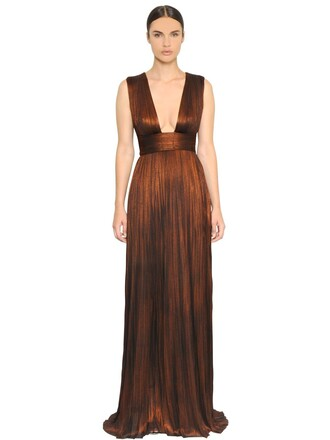 gown pleated metallic silk gold brown dress