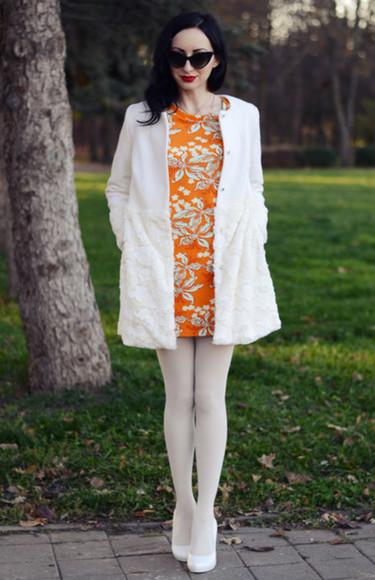 orange dress long sleeve dress patterened