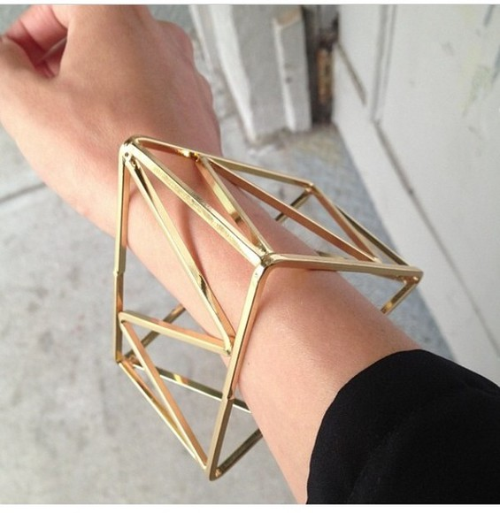 bracelet bangle jewels gold triangle cute jewls cuff unique jewelry statement statement bangle