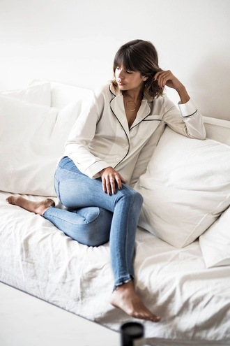 lefashion blogger pajamas blouse shirt