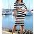 Fashion Stripe Print Three Quarter Sleeve Two Piece Dress For Women_20.49