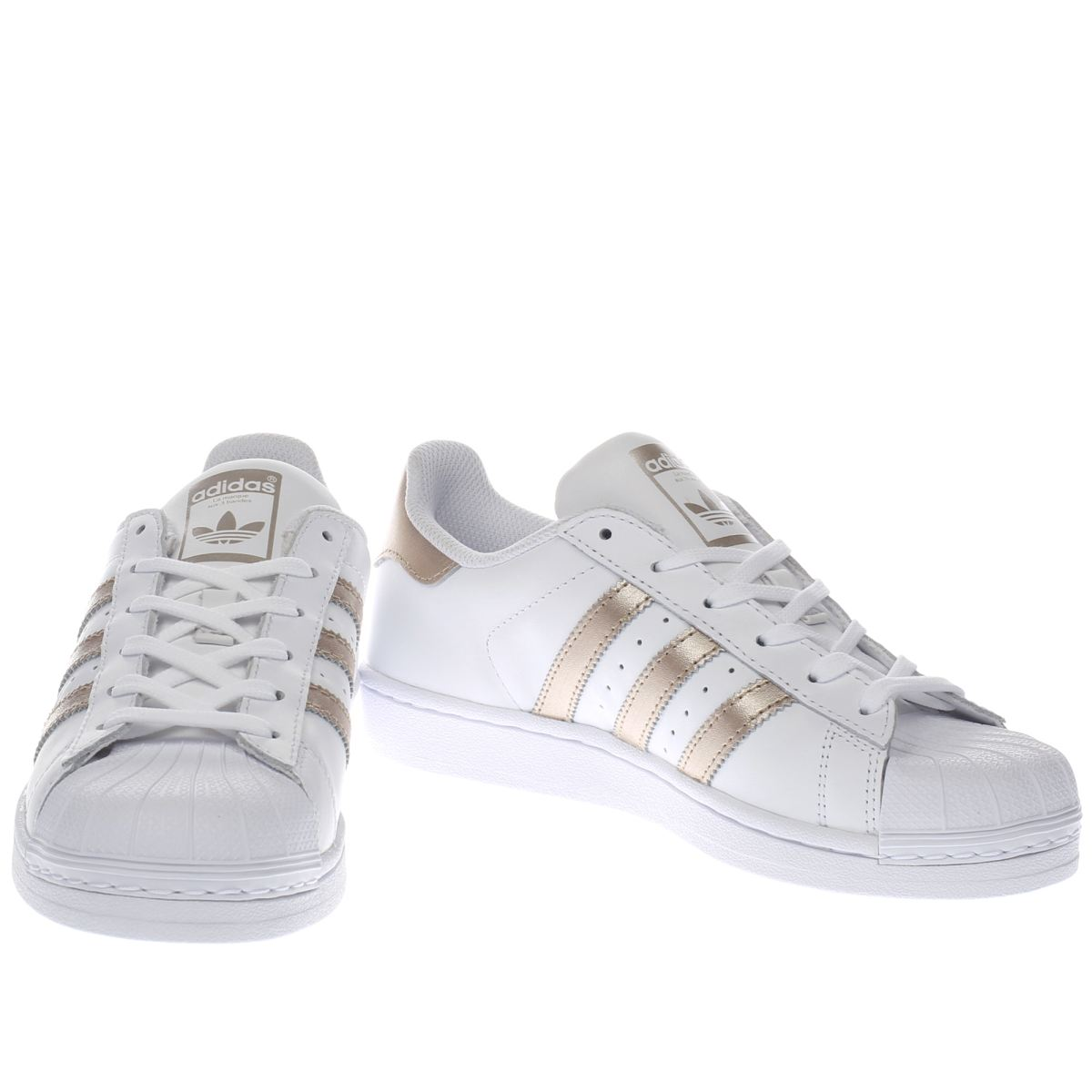 Womens White & Rose Gold Adidas Superstar Trainers | schuh