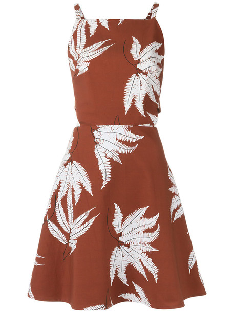 dress printed dress women spandex cotton brown