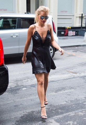 shoes rita ora shorts black dress short dress sunglasses high heels
