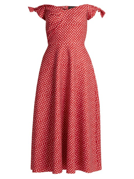 Saloni dress print white red