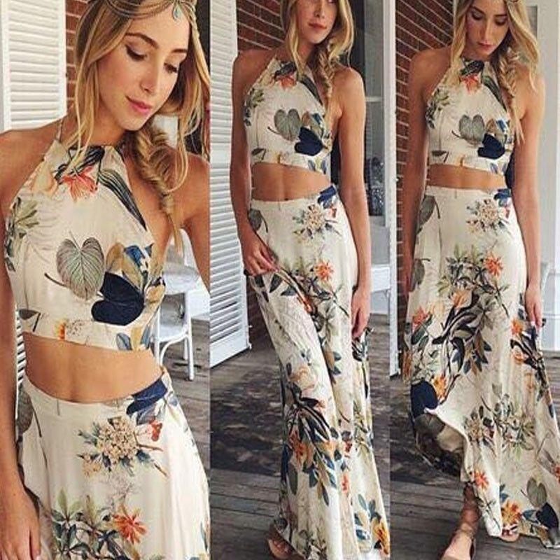 53f7d3d1457671 Womens Floral Skirt Maxi Crop Top Coord Two Piece Dress Set Party ...