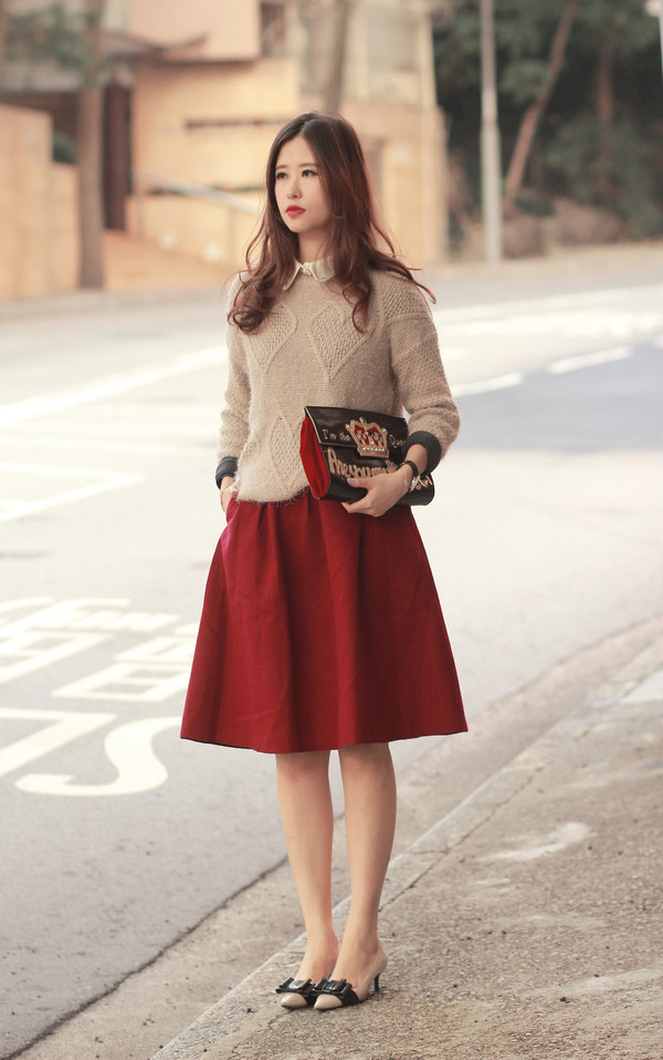 Romwe retro zippered pleated red skirt the latest street fashion