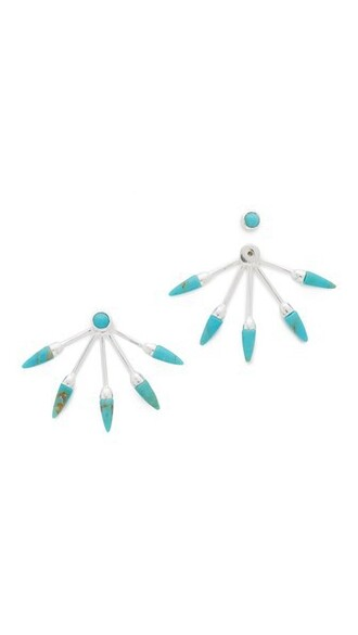 earrings silver turquoise jewels