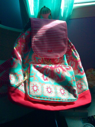 bag pink blue pattern cute tumblr preppy school bag bookbag backpack stripes floral