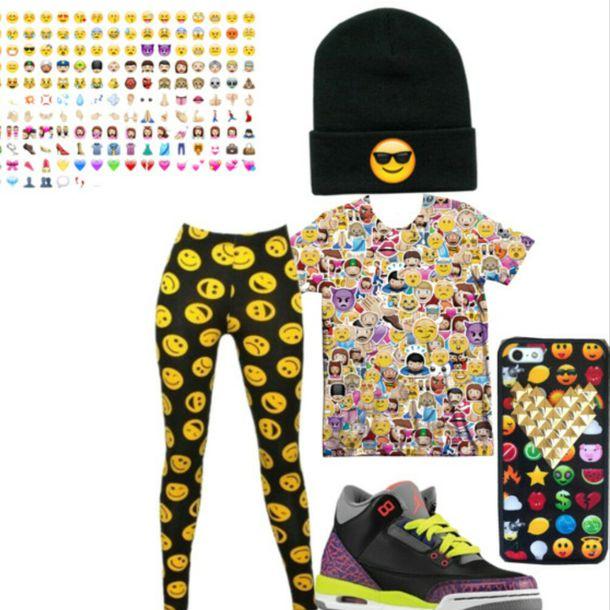 hat emoji hat emoji crop top emoji leggings jordans