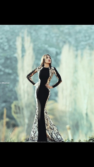 dress black dress long dress long sleeve dress beige dress black and white dress
