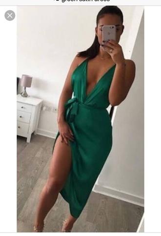dress green green dress satin satin dress sexy silk