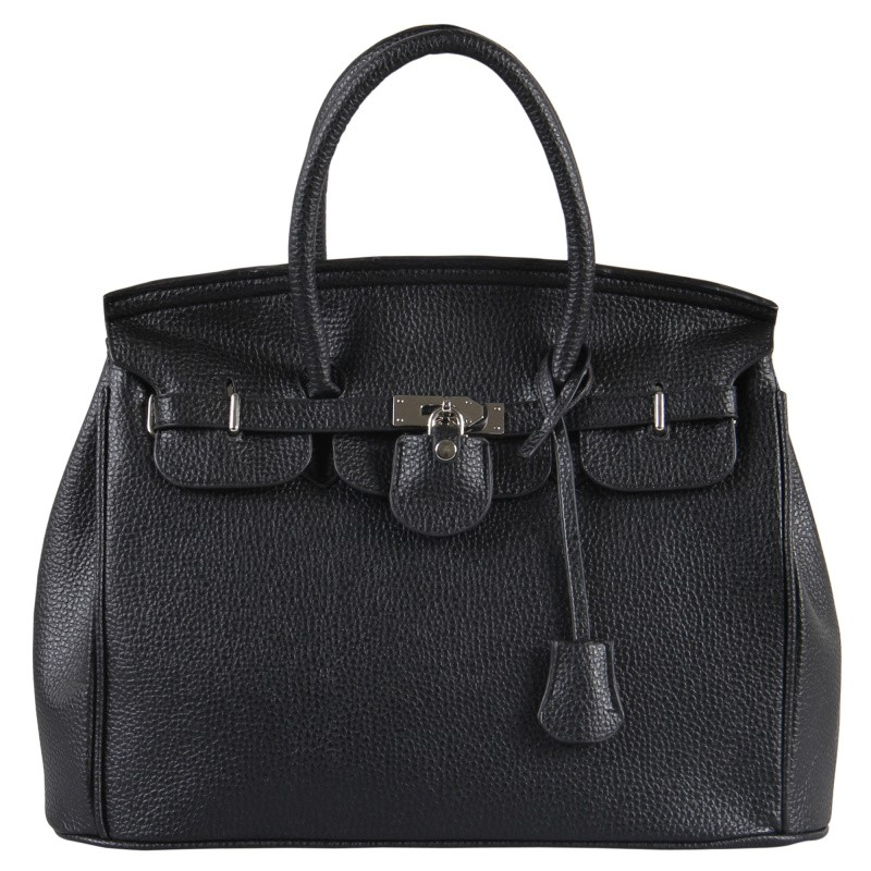 Elegant street snap women leather tote bag
