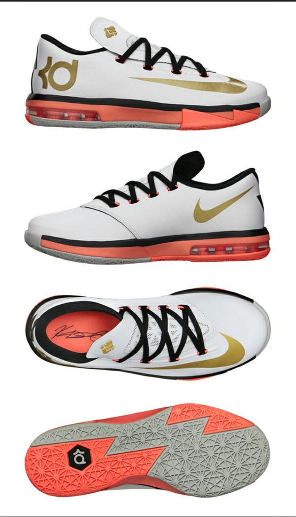 buy online 09674 28307 ... nike kd vi 6 elite gold collection men basketball shoes low kd 6 new  white ebay