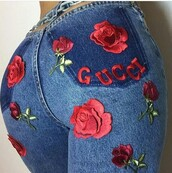 jeans,baddies,gucci,skinnyjeans,pants,lavish,rose,gucci jeans,roses,flowers,embroidered jeans,blue,flower jeans,denim,embroidered