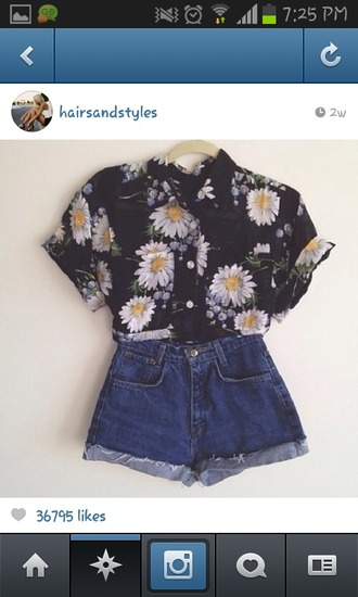 shirt collar daisy floral hipster retro button up shirt