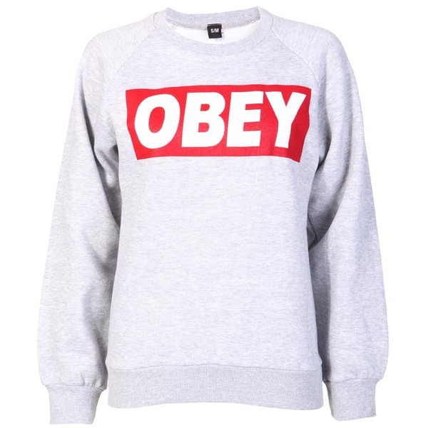 Obey Sweatshirt in Grey - OBEY Clothing - Polyvore