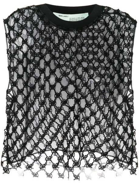 Off-White top embroidered women spandex cotton black silk
