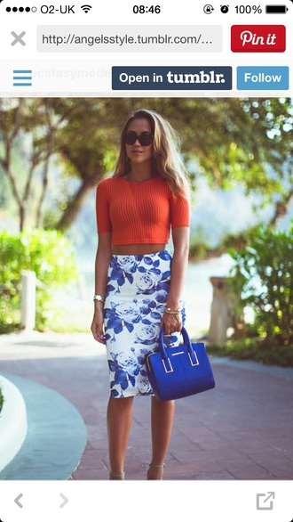 top crop tops orange summer top skirt
