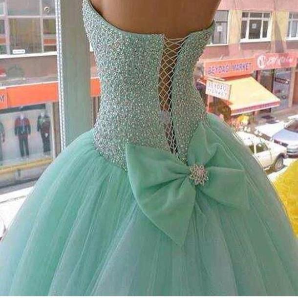 dress teal dress quinceanera dress bows beaded