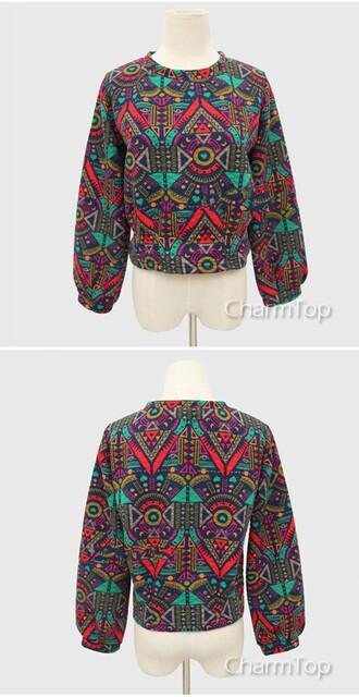 sweater pullover aztec tribal pattern geometric streetstyle