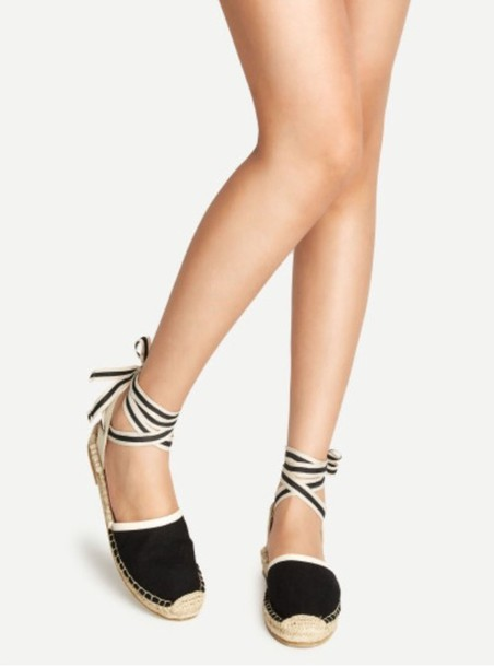 45c761497 shoes cute girly girl girly wishlist espadrilles black white sandals flat  sandals flats lace up