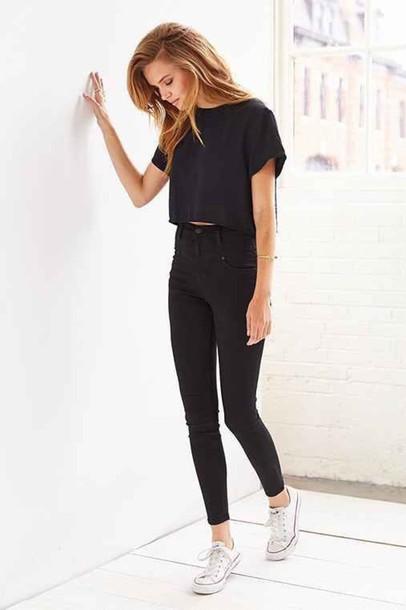 shirt crop tops high waisted jeans black high waisted pants converse pants black black jeans jeans