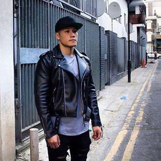 jacket maniere de voir classic faux leather biker black 36683