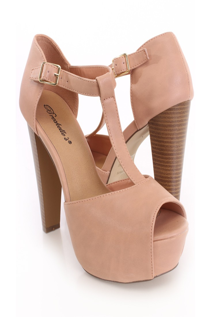 Nude Peep Toe Ankle Strap Platform Heels Faux Leather