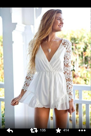 dress white dress lace dress cute dress clothes lace