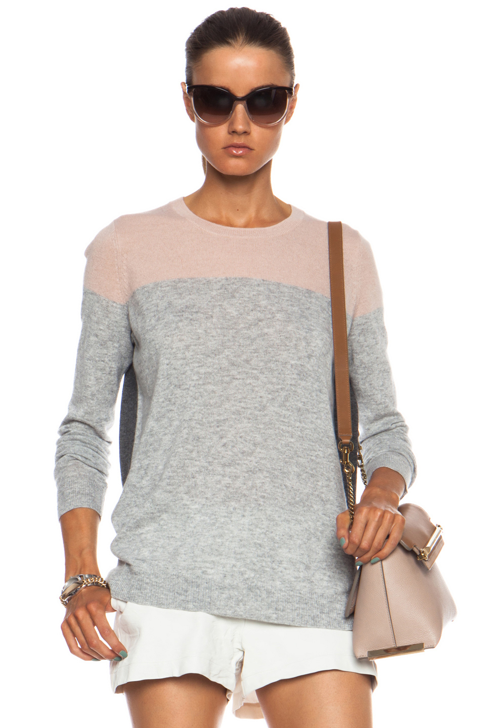 Vince | Colorblock Crew Cashmere Sweater in Salmon Combo