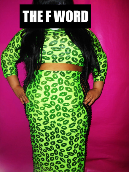 metallic dress lips neon green cut long