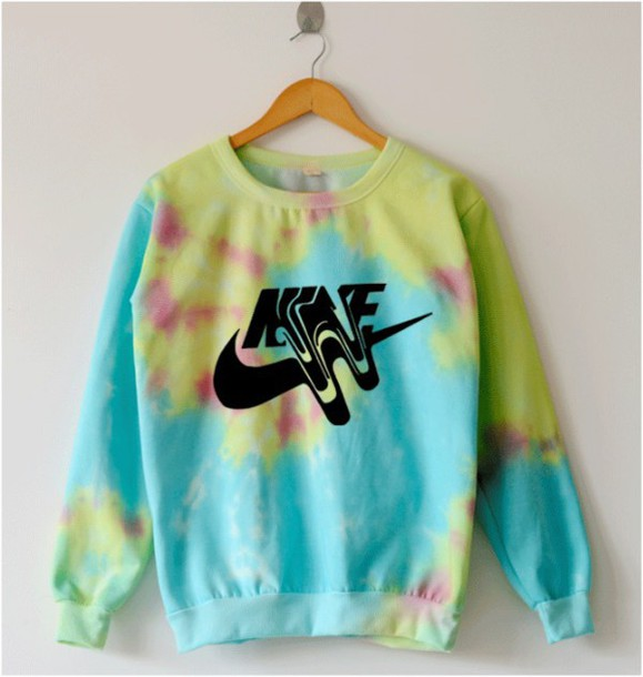 Sweater multicolor nike sweatshirt crewneck tie dye for Nike tie dye shirt and shorts