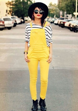 jeans yellow hipster overalls