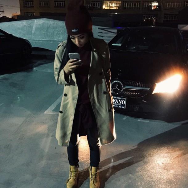 coat brown brown coat beanie top sweatpants timberlands iphone timberlands boots jacket bag swag