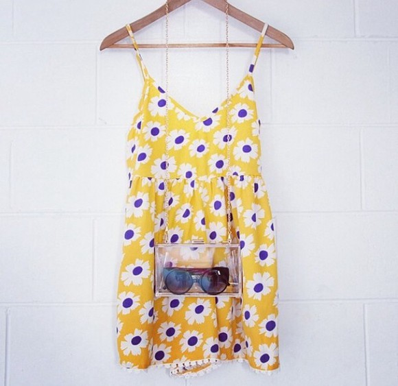 dress yellow sundress white daisies purple