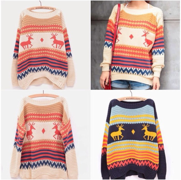 sweater cream print orange blue etzec